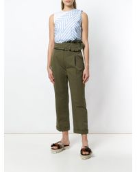 Carven Green Frilled Trim Trousers