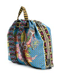 Etro - Blue Jungle Print Backpack - Lyst