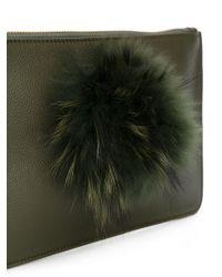 Mr & Mrs Italy Green Fur Embellished Clutch