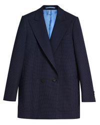 Pin Dot Wool Double-breasted Jacket di Burberry in Blue