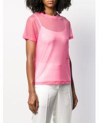 T-shirt à effet de transparence Helmut Lang en coloris Pink