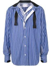 Chemise imprimée à design superposé Sacai pour homme en coloris Blue