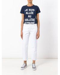 Maison Kitsuné - Blue Front Print T-shirt - Lyst