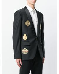 Billionaire Black Embroidered Patch Blazer for men