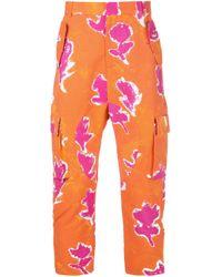 Pantalones cargo con motivo floral Prabal Gurung de hombre de color Orange