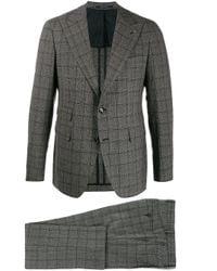 Tagliatore Black Single Breasted Checked Suit for men