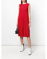 Maison Margiela Red Pleat Effect Shift Dress