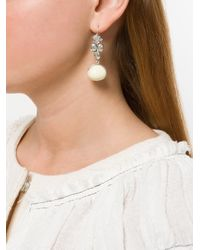 Isabel Marant - White Embellished Drop Earrings - Lyst