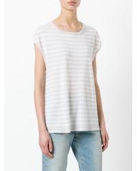 Hemisphere White Striped Sweatshirt