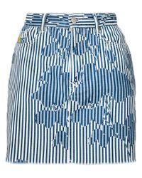 Vivienne Westwood Anglomania - Blue Rose Stripe Print Denim Mini Skirt - Lyst