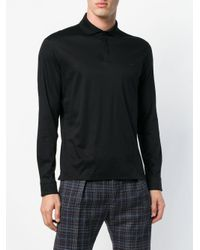 Z Zegna Black Long Sleeved Polo Sweatshirt for men