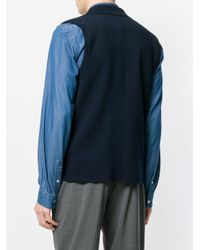 Eleventy - Blue Sleeveless Button-down Cardigan for Men - Lyst
