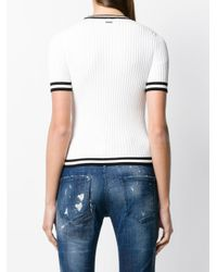 DSquared² White Track Ribbed Short Sleeve Sweater