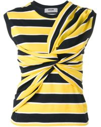 MSGM Yellow Striped Tied Front Vest
