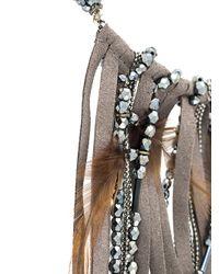 Fabiana Filippi - Gray Feather Embellished Fringed Necklace - Lyst
