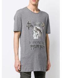 メンズ Philipp Plein ラウンドネック Tシャツ Gray