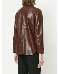 Nanushka - Brown Faux Leather Shirt - Lyst