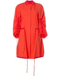 Josie Natori Red Drawstring Sleeve Coat