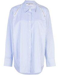 Alexander Wang Blue Zip Detail Striped Shirt
