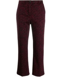 White Sand Red Leopard Print Trousers
