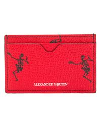 Alexander McQueen - Red Dancing Skull Cardholder for Men - Lyst