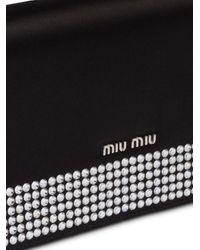 Miu Miu Starlight サテン クラッチバッグ Black