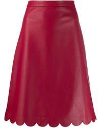 RED Valentino スカラップ レザースカート Red