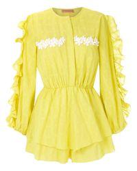 Clube Bossa Litchy ラッフル ジャンプスーツ Yellow
