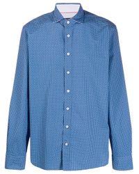 Camisa con motivo de lunares Hackett de hombre de color Blue