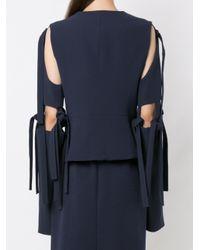Gloria Coelho Blue Cut Out Details Coat