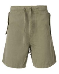YMC Green Back Pocket Embellished Shorts for men