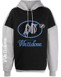 we11done Gray Two-tone Hoodie for men