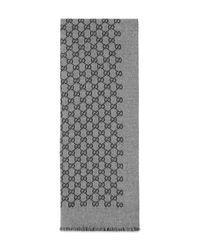 Écharpe GG en jacquard de laine Gucci pour homme en coloris Gray