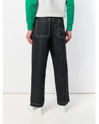 Societe Anonyme Black Topstitch Cargo Pants for men