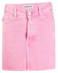 Джинсовая Юбка С V-образной Линией Талии Balenciaga, цвет: Pink