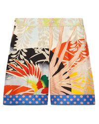 Short en soie à oiseau tropical Gucci en coloris Multicolor