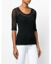 Dolce & Gabbana Black Crochet Scoop Neck Sweater