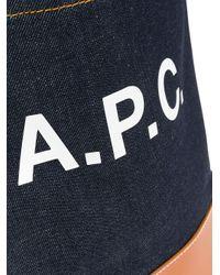 A.P.C. ロゴ デニムハンドバッグ Blue