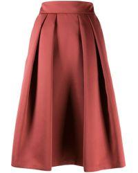 Jupe mi-longue plissée Giorgio Armani en coloris Brown