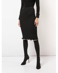Falda midi de canalé Alexander Wang de color Black