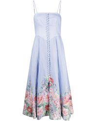 Zimmermann Blue Bellitude Bustier Midi Dress