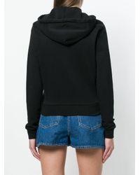 Maison Kitsuné Black Zipped Drawstring Hoodie