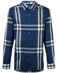 Burberry | Blue Checked Shirt for Men | Lyst