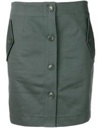 Givenchy Green Straight Button Up Skirt