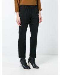 Alberto Biani Black Pleated Tapered Trousers