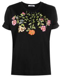 Vivetta Black Floral-print Cotton T-shirt