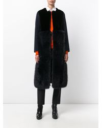 Blancha - Black Fur Detail Gilet Coat - Lyst