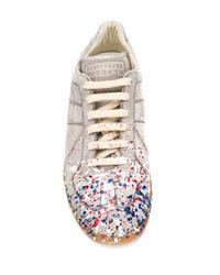 Maison Margiela Gray Replica Paint-Splatter Nubuck Low-Top Sneakers for men