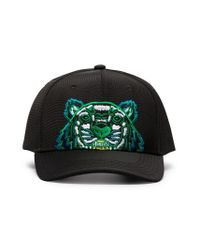 KENZO Black Embroidered Tiger Logo Cap for men