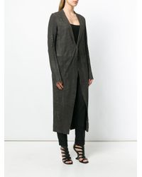 Rick Owens Gray Buttoned Style Coat